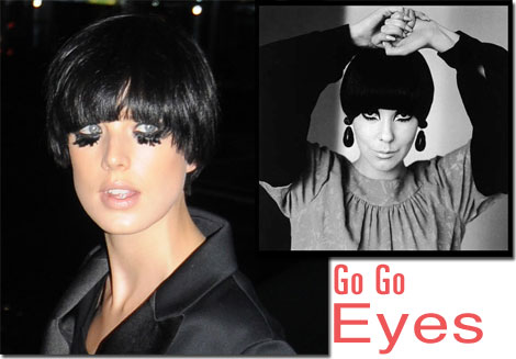 Go Go Eyes: Agyness Deyn, left and Peggy Moffitt, right