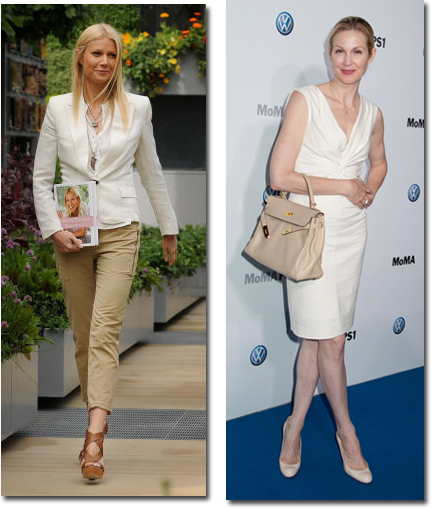 Two ways to wear white: Gwyneth Paltrow mixes tan pants  and  tobacco colored platforms & Kelly Rutherford adds a a classic beige Kelly bag and nude pumps to her white sheath.