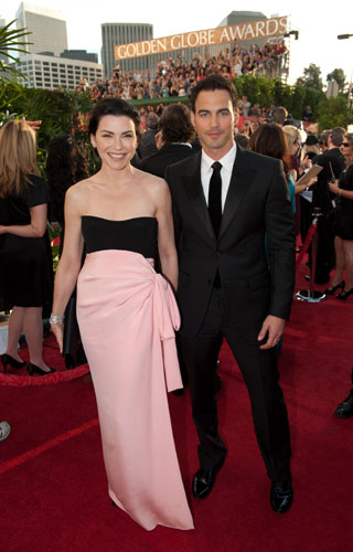 Julianna Margulies, wearing vintage YSL,  attends the 68th Annual Golden Globes Awards with husband Keith Lieberthal