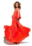 Halston Heritage Iconic Pleated Long Dress in Orange