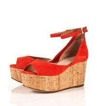 JAVA CORAL SUEDE PEEP TOE PLATFORM WEDGES at Topshop.com