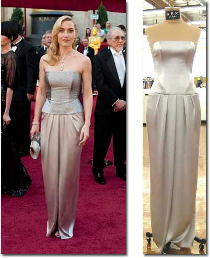 Kate Winslet on the Oscar red carpet and the A.B.S. celebrity-inspired version of her dress