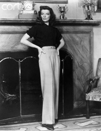 Katherine Hepburn- style icon, pants wear and don't belive ever wore hidious sneakers with dress pants
