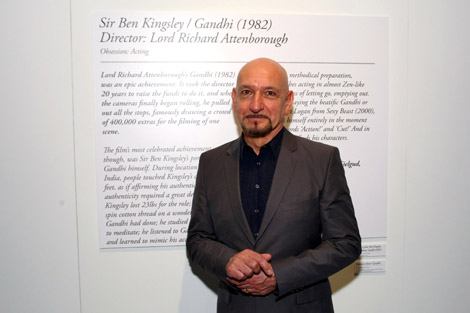 Obsession: Acting-- The exhaustive preparation and dedication to the art of award-winning acting, performances by Sir Ben Kingsley in the film Gandhi is examined through a series of artifacts and a video exhibit.