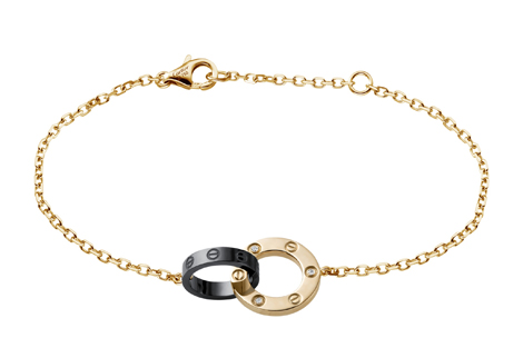 Love bracelet in pink gold with diamonds & black ceramic