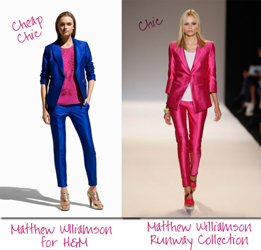 Matthew Williamson for H&M (left) and at Mercedes Benz Fashion Week NY (right)
