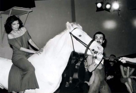Bianca Jagger on a white horse at Studio 54 celebrating her 30th birthday in 1977. Photo: The Independat