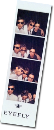 Goofing around in the Eyefly photo booth at the launch party with Naveed & Linda.