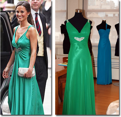 Pippa's Sarh Burton for Alexander McQeen party dress and the Faviana version