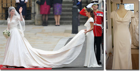Sister of the bride and Maid of Honour Pippa Middleton holding the bride-to-be's train and the Faviana rendition of her gown.
