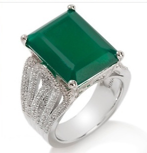 Ramona Singer for HSN Green Chalcedony and Diamond Sterling Silver Ring