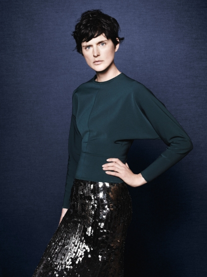 Green dolman sleeve blouse & sequin pencil skirt from Zara fw 11
