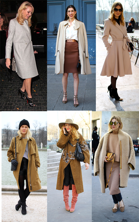 Neutral Coats in gray or beige for celebrity style, like Naomi Watts in Carven or the chic Paris streetstyle ladies are the perfext palette cleanser for your transition wardrobe.
