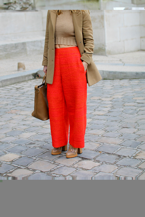 Camel + Red = Paris Fashion Week Street Style