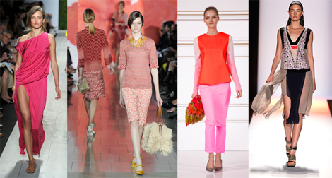 Pinks, from left to right: Michael Kors, Tory Burch, H&M Design Award, BCBGMaxAria