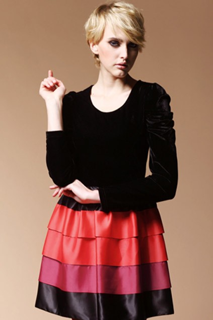 puff-sleeve-silk-velvet-dress-with-multi-color-pleated-skirt
