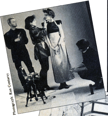 A rare photo of me on a photo shoot and it's becuase it was in a magazine! New Woman magazine did a feature story about me and here I am in a snippet photo as a stylist on the set with Brad Boles (FoS contributing editor at large) on makeup & North Rebis on hair. Yes, I still wear my Yoji Yamamoto shirt that I have on ! I kept my stylist scissors in a holster belt