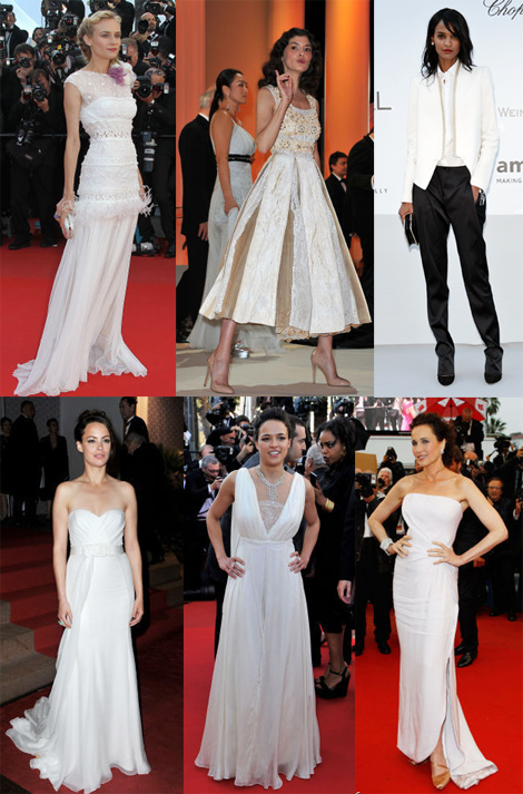 Diane Kruger, Audrey Tautao, Liya Kebede, Berenice Bejo, Michelle Rodriquez, Andie MacDowell all in white on the red carpet